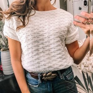 Ivory Chunky cropped knit pullover top